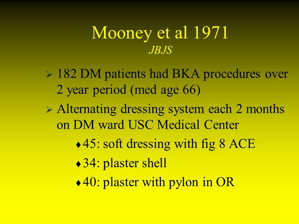 Mooney et al 1971 JBJS 182 DM patients had BKA procedures over 2 year period (med age 66)