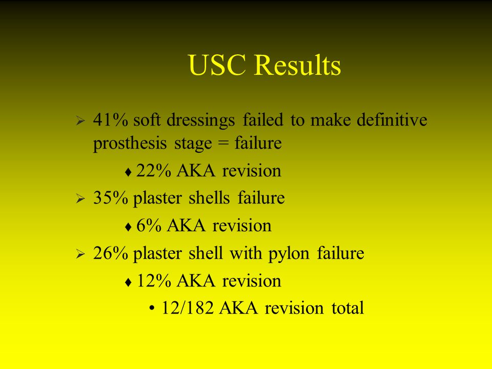 USC Results 41% soft dressings failed to make definitive prosthesis stage = failure. 22% AKA revision.