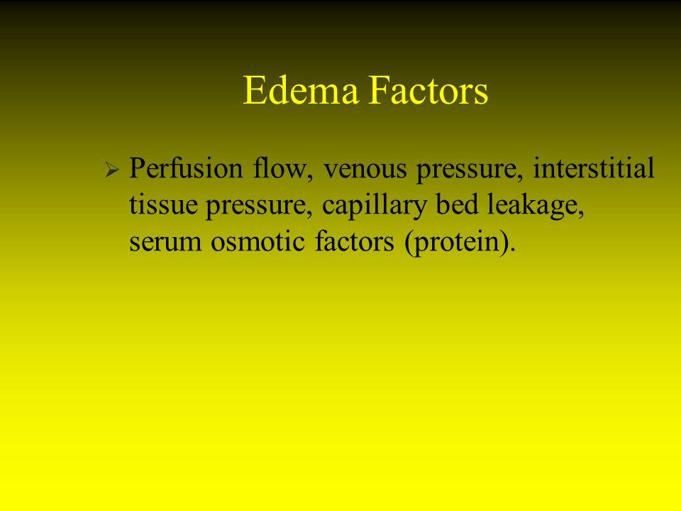 Edema Factors Perfusion flow, venous pressure, interstitial tissue pressure, capillary bed leakage, serum osmotic factors (protein).