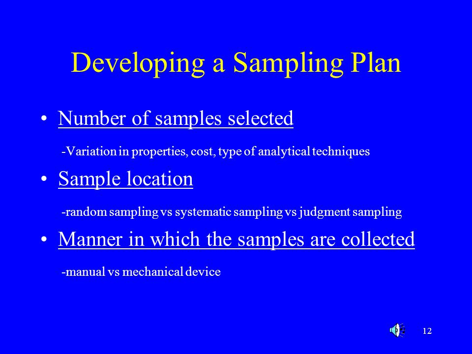 Developing a Sampling Plan