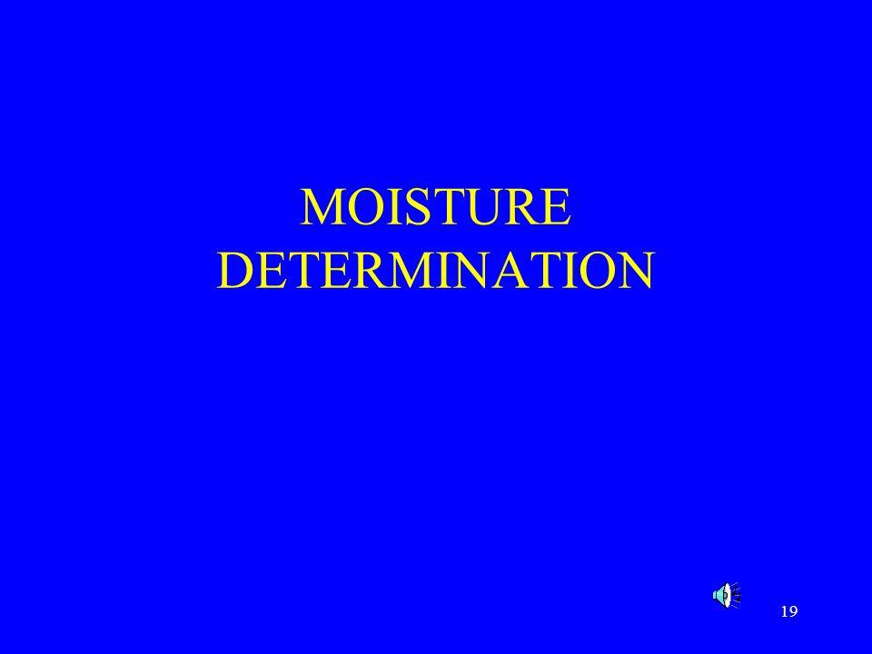 MOISTURE DETERMINATION