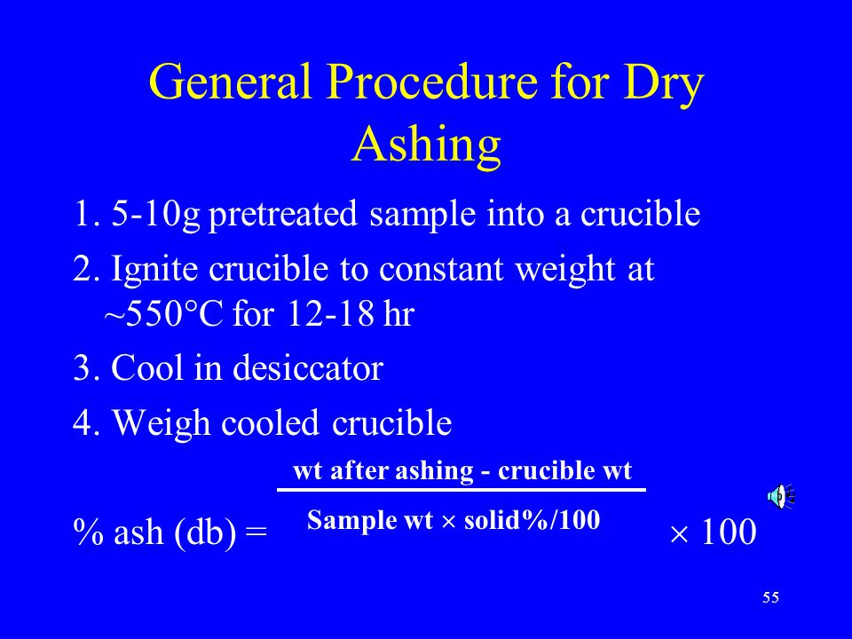 General Procedure for Dry Ashing