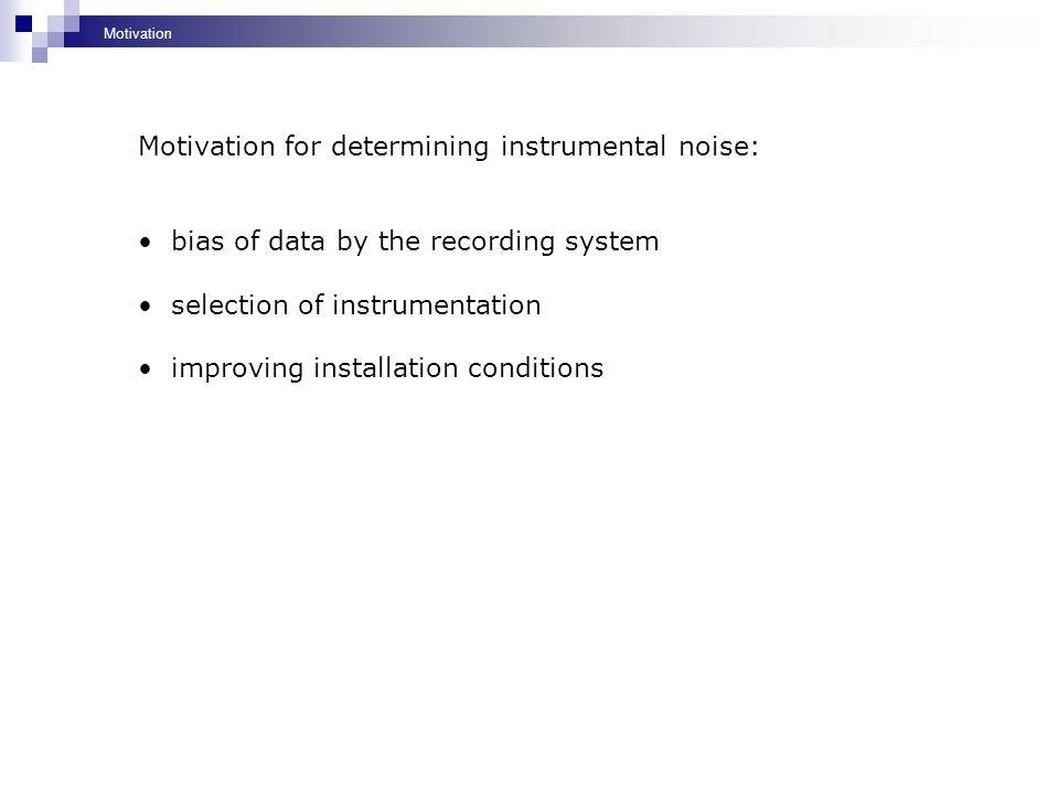Motivation for determining instrumental noise: