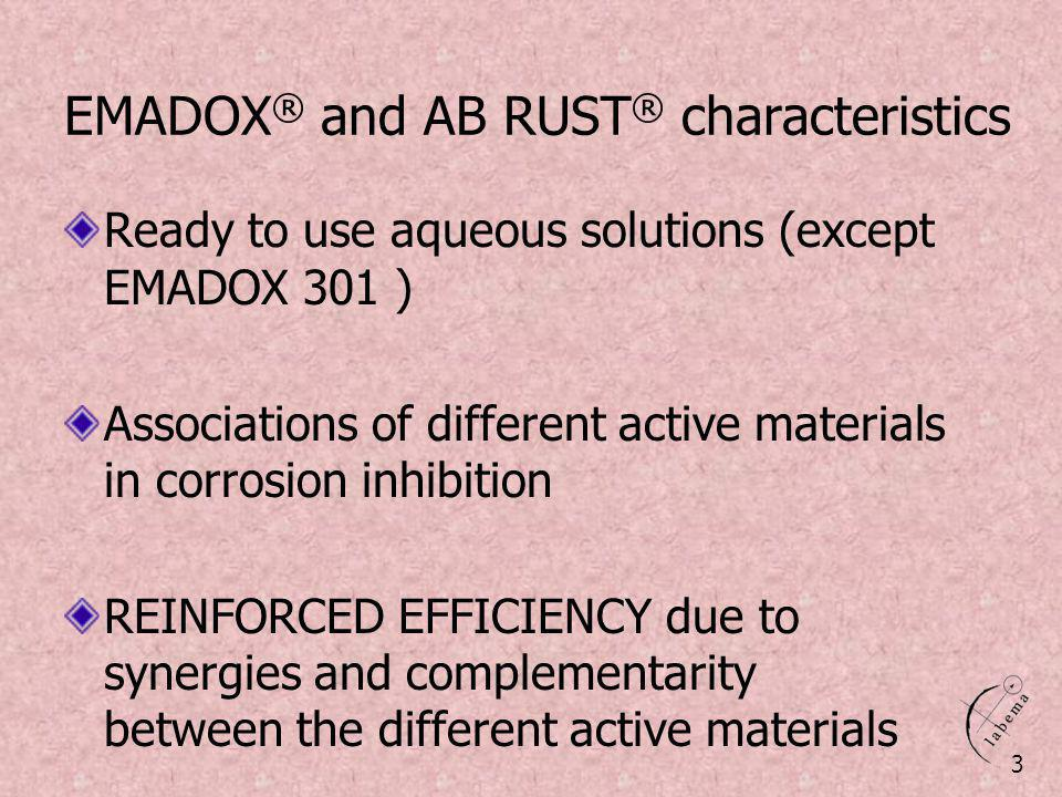 EMADOX® and AB RUST® characteristics