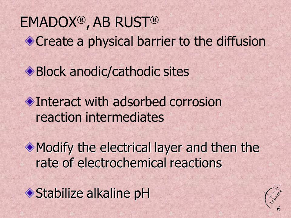 EMADOX®, AB RUST® Create a physical barrier to the diffusion