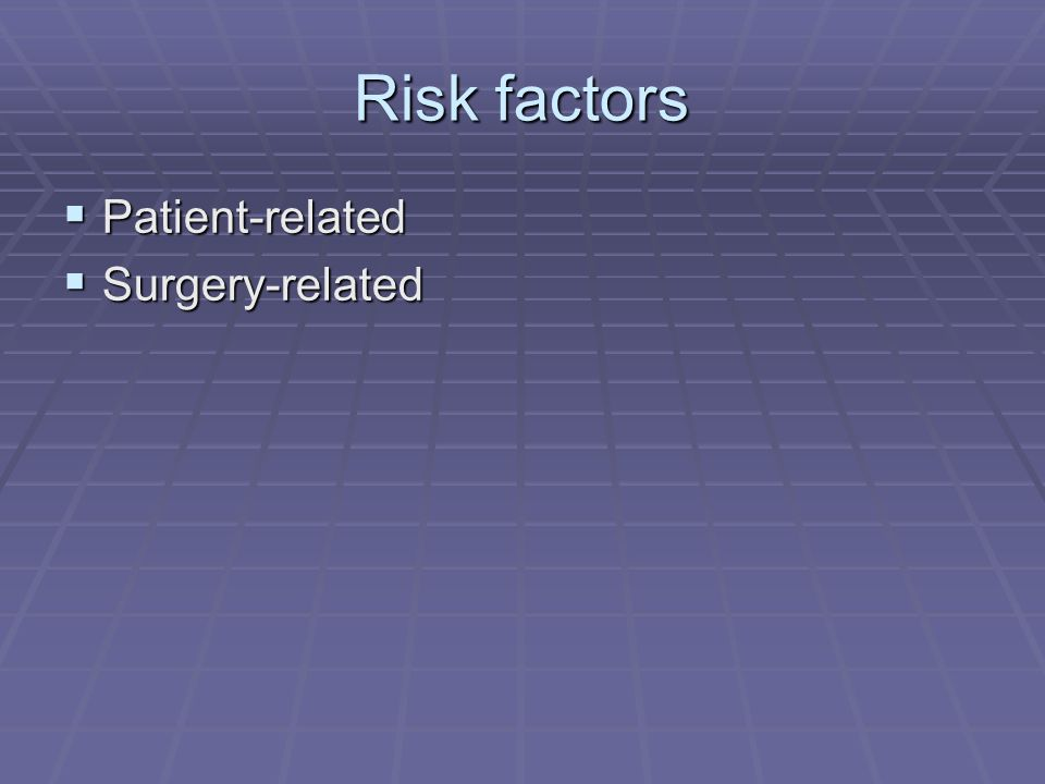 Risk factors Patient-related Surgery-related