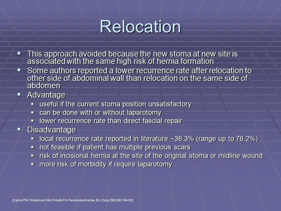 Relocation This approach avoided because the new stoma at new site is associated with the same high risk of hernia formation.