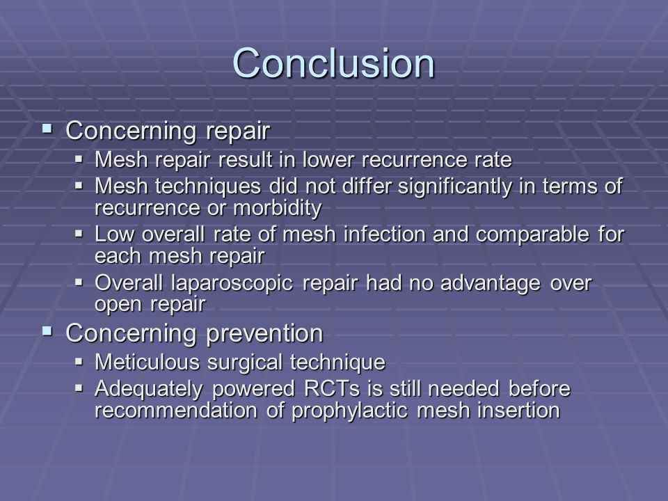 Conclusion Concerning repair Concerning prevention