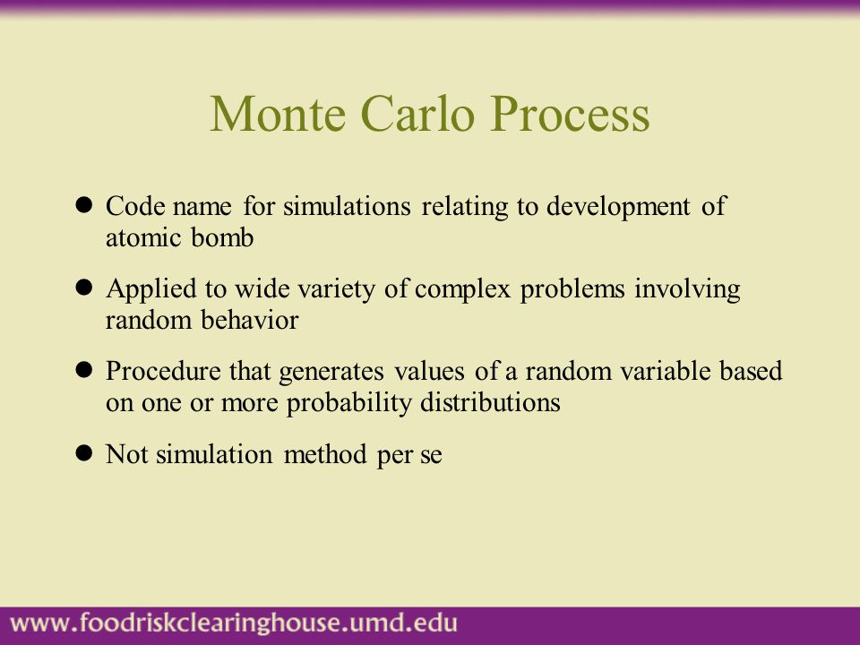Monte Carlo Process Code name for simulations relating to development of atomic bomb.