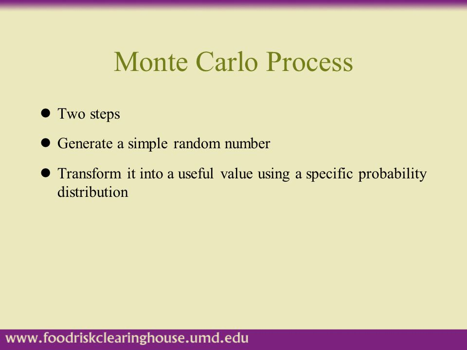 Monte Carlo Process Two steps Generate a simple random number