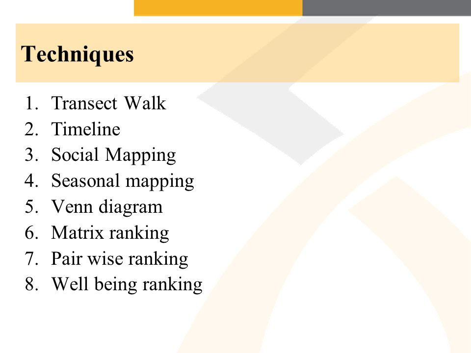 Techniques Transect Walk Timeline Social Mapping Seasonal mapping