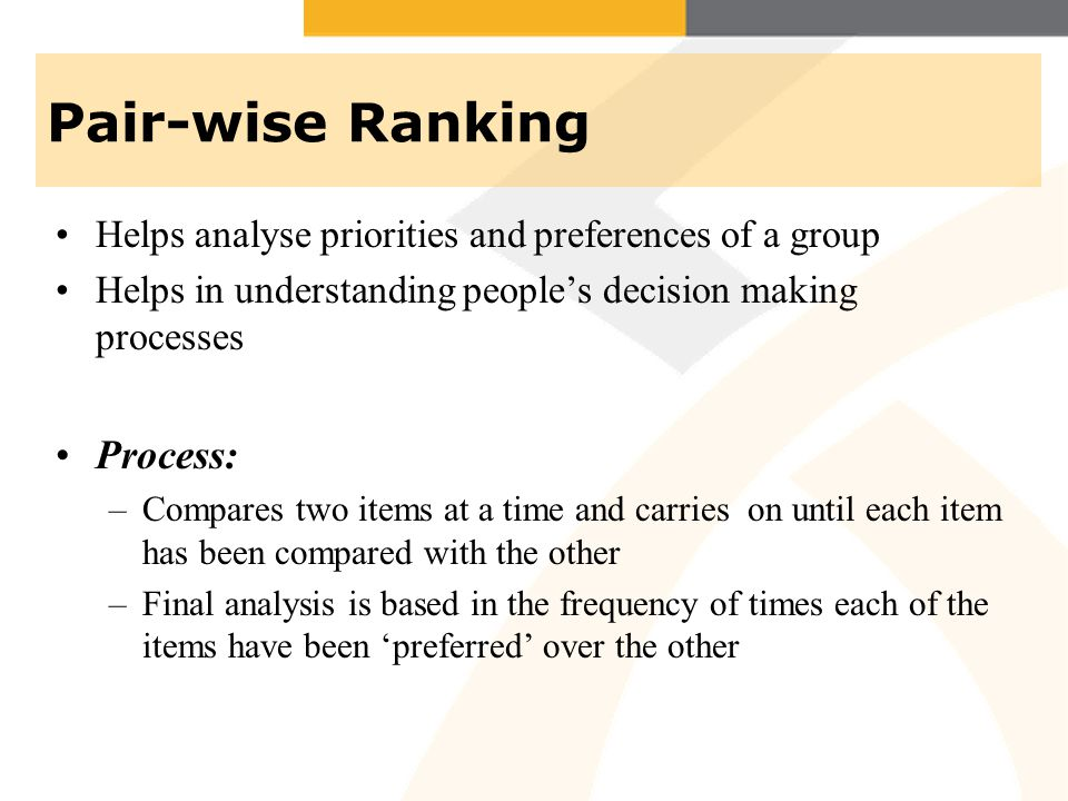 Pair-wise Ranking Process: