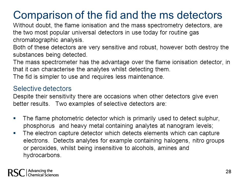 Comparison of the fid and the ms detectors