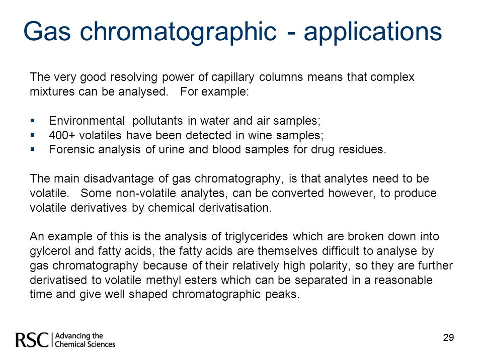 Gas chromatographic - applications