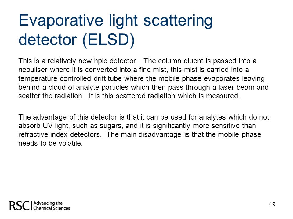 Evaporative light scattering detector (ELSD)
