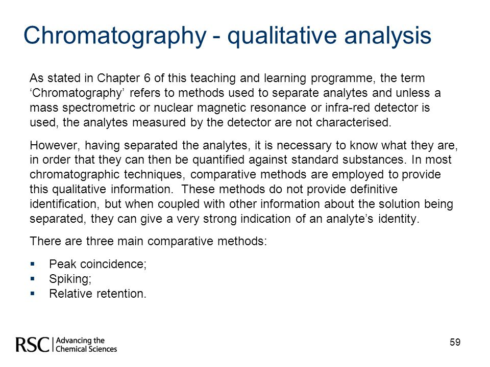Chromatography - qualitative analysis
