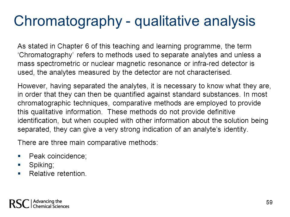 Chromatography - qualitative analysis