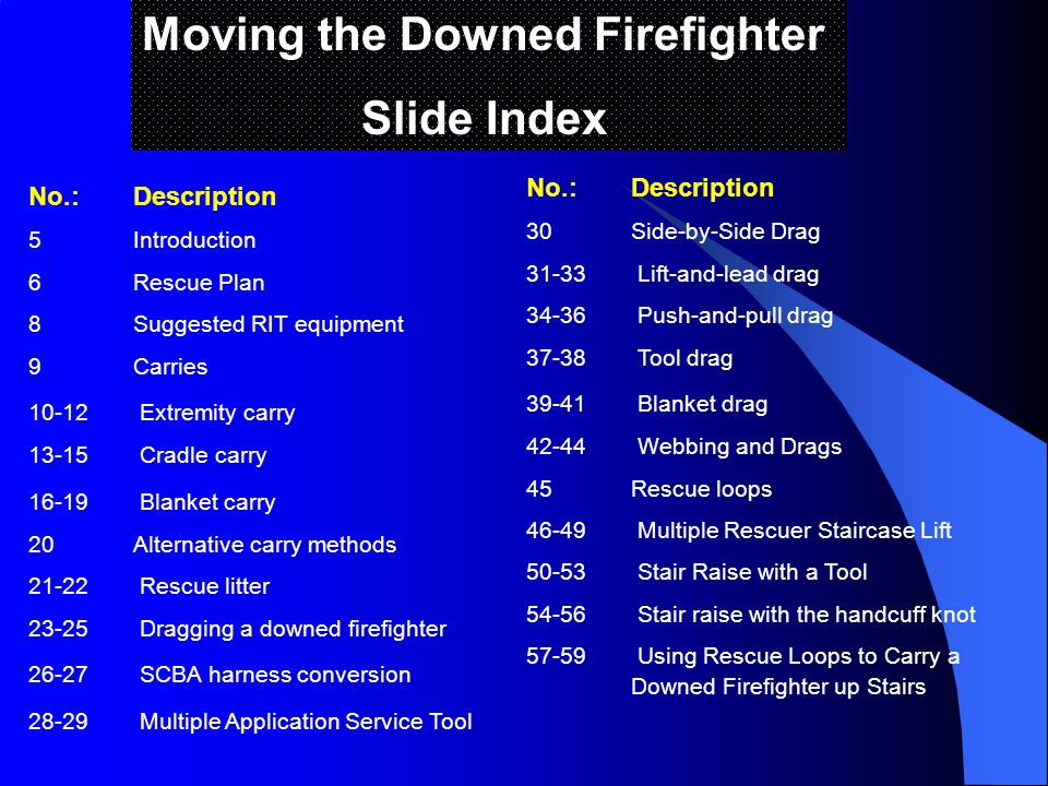 Moving the Downed Firefighter Slide Index