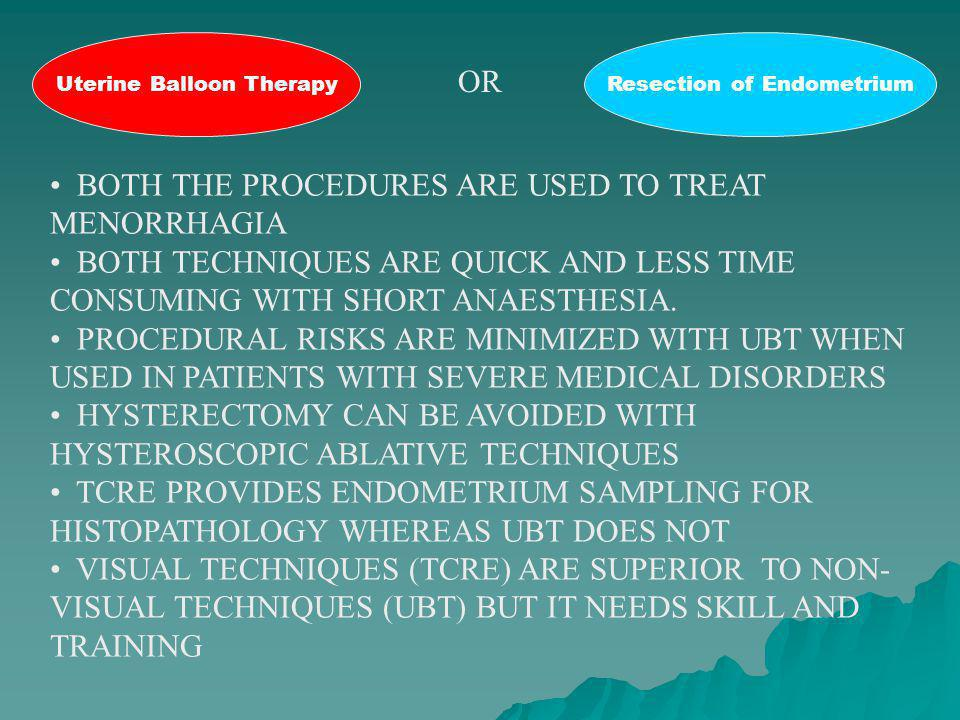 BOTH THE PROCEDURES ARE USED TO TREAT MENORRHAGIA