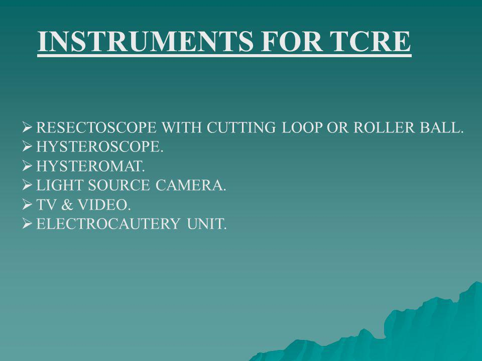 INSTRUMENTS FOR TCRE RESECTOSCOPE WITH CUTTING LOOP OR ROLLER BALL.