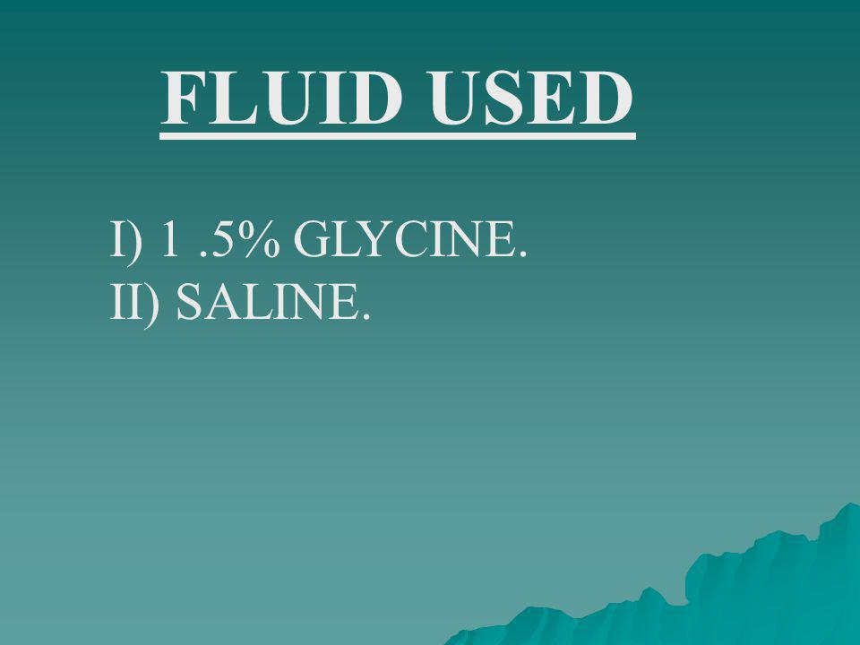FLUID USED I) 1 .5% GLYCINE. II) SALINE.