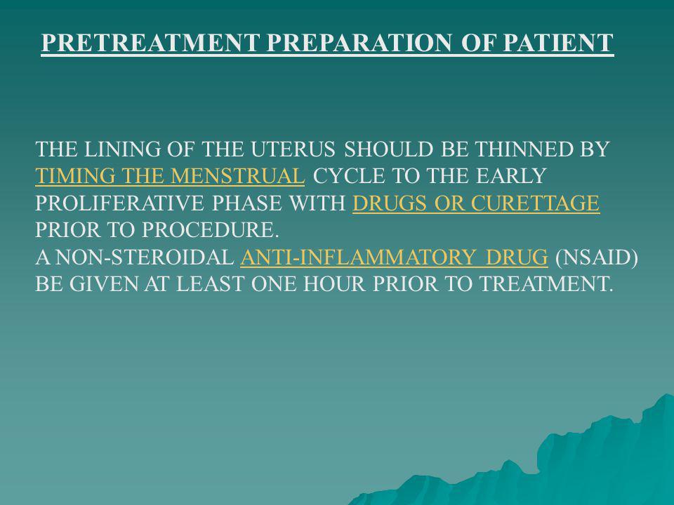 PRETREATMENT PREPARATION OF PATIENT