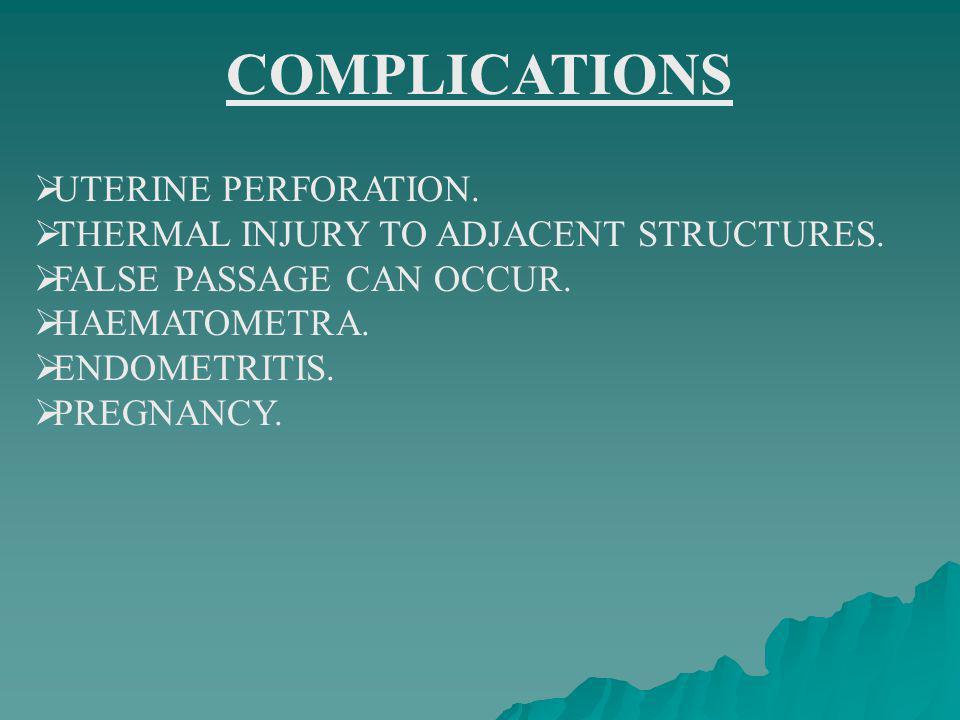 COMPLICATIONS UTERINE PERFORATION.