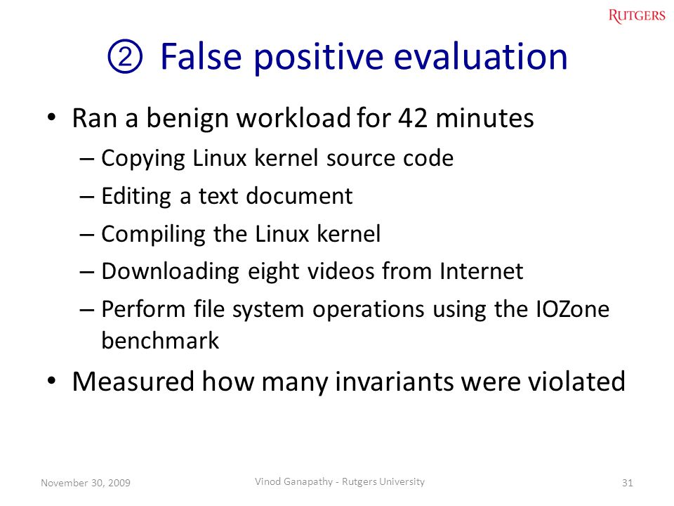 False positive evaluation