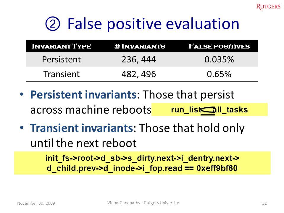 False positive evaluation