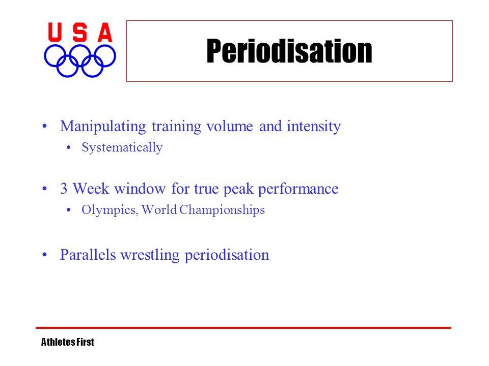 Periodisation Manipulating training volume and intensity