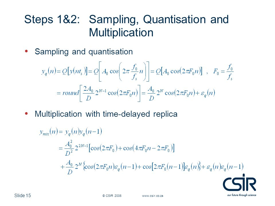 Steps 1&2: Sampling, Quantisation and Multiplication