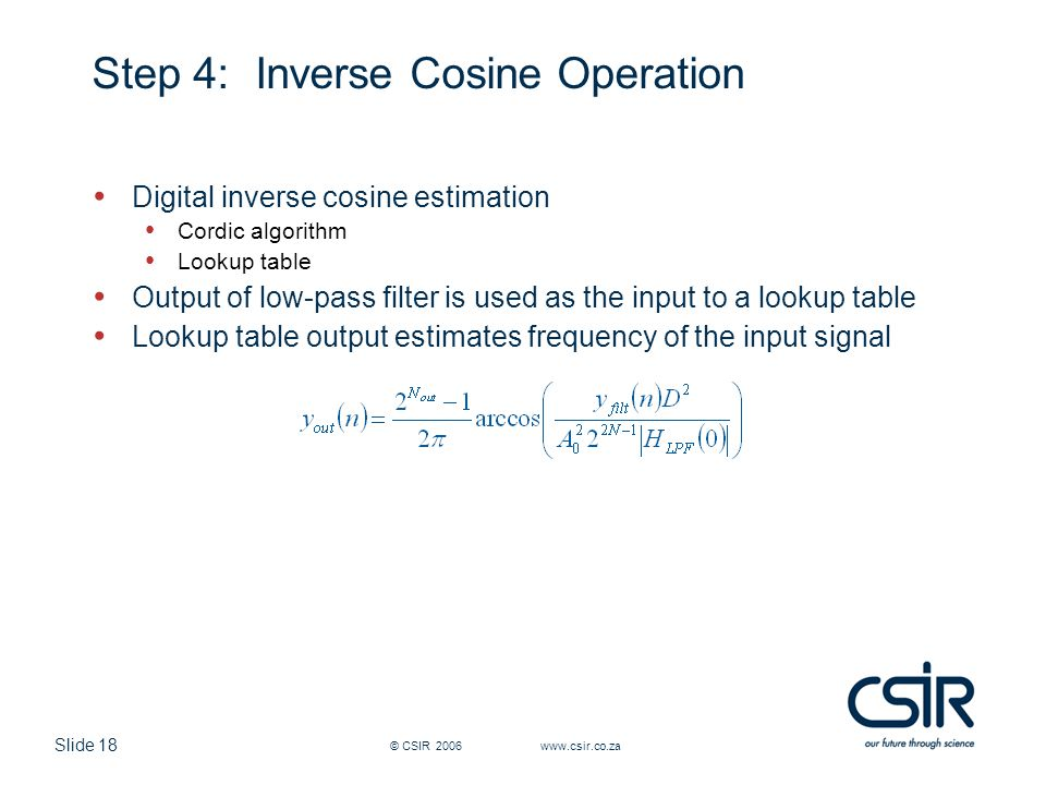 Step 4: Inverse Cosine Operation