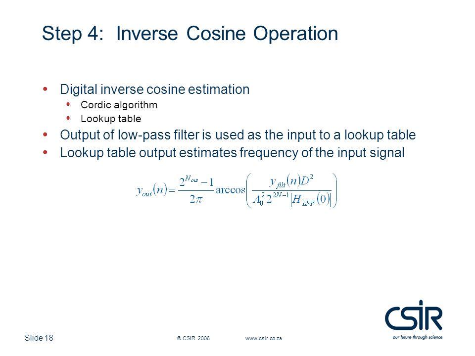 Step 4: Inverse Cosine Operation