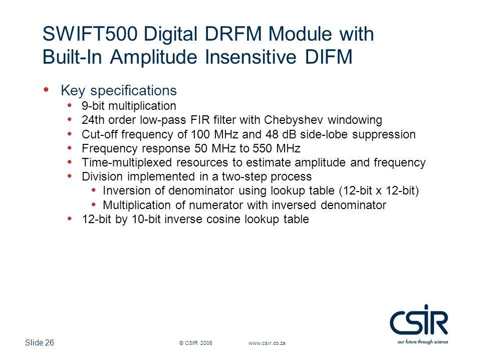 SWIFT500 Digital DRFM Module with Built-In Amplitude Insensitive DIFM