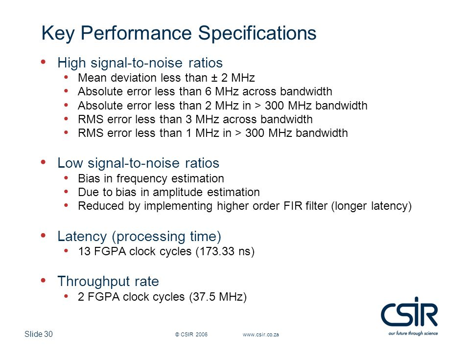 Key Performance Specifications
