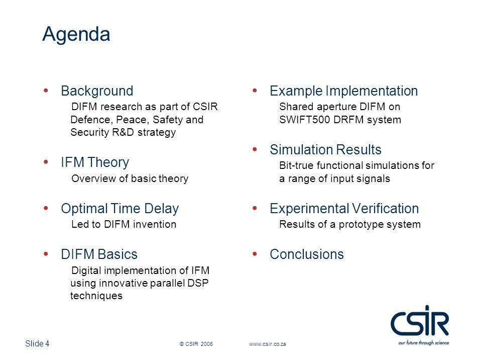 Agenda Background IFM Theory Optimal Time Delay DIFM Basics