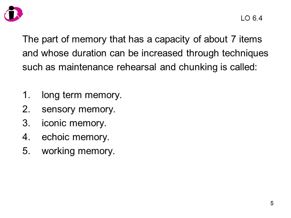 The part of memory that has a capacity of about 7 items