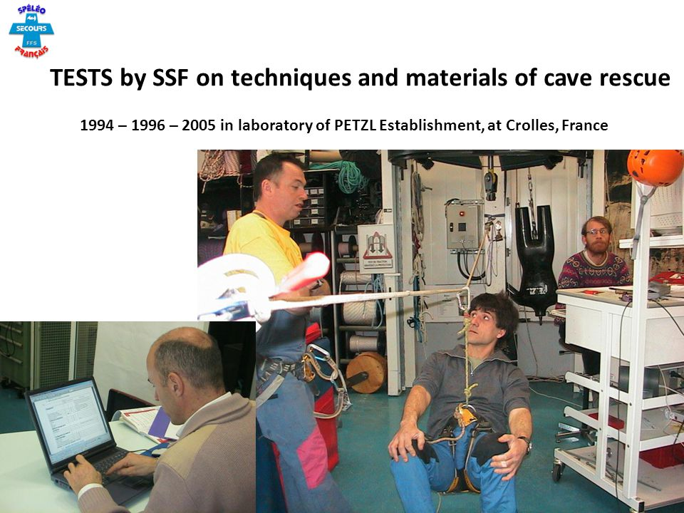 TESTS by SSF on techniques and materials of cave rescue
