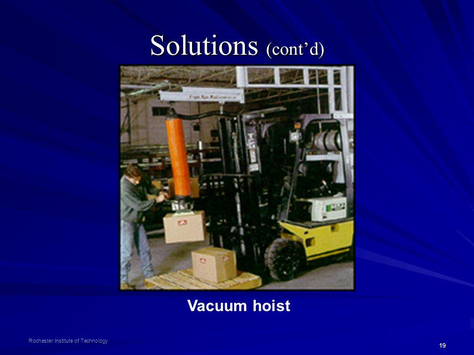 Solutions (cont'd) Vacuum hoist