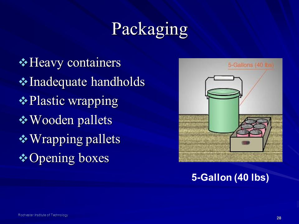 Packaging Heavy containers Inadequate handholds Plastic wrapping