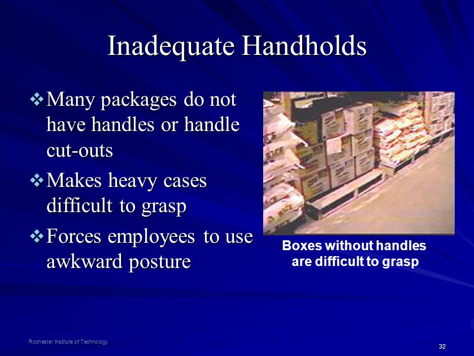Inadequate Handholds Many packages do not have handles or handle cut-outs. Makes heavy cases difficult to grasp.