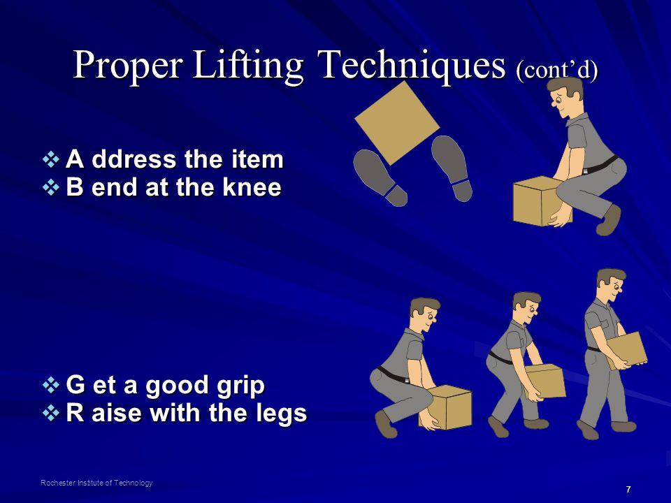 Proper Lifting Techniques (cont'd)