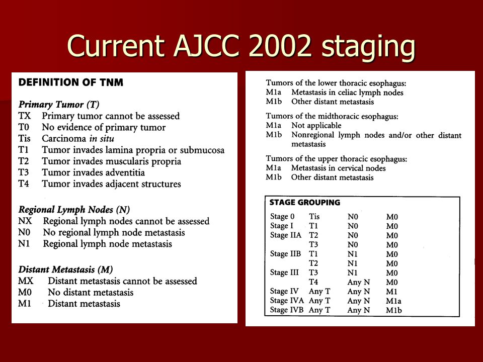 Current AJCC 2002 staging Cervical- 18cm from upper incisors Upper thoracic: 24 cm Mid thoracic- 32 cm Lower thoracic 40 cm.