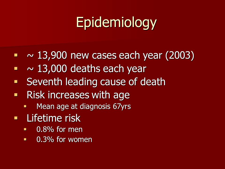 Epidemiology ~ 13,900 new cases each year (2003)