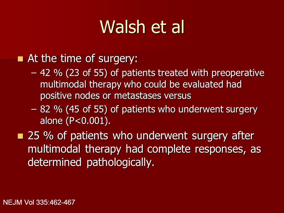 Walsh et al At the time of surgery: