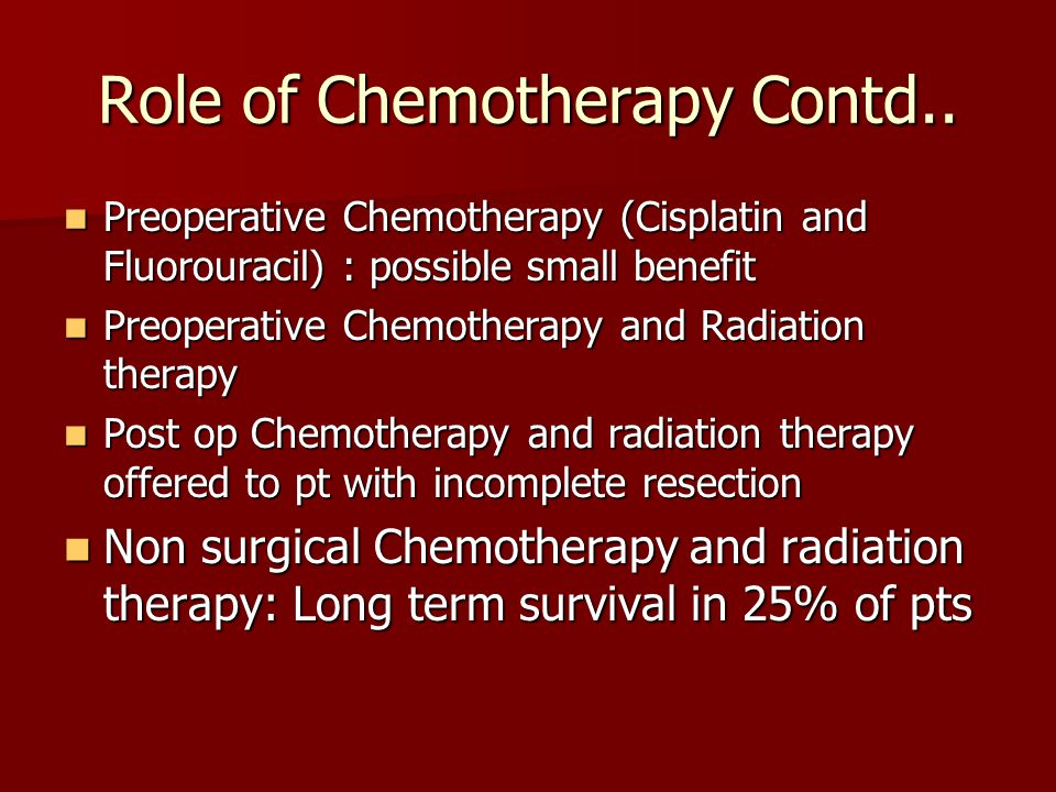 Role of Chemotherapy Contd..