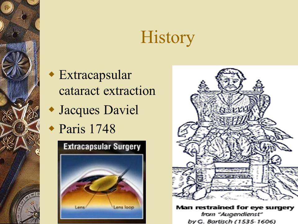 History Extracapsular cataract extraction Jacques Daviel Paris 1748