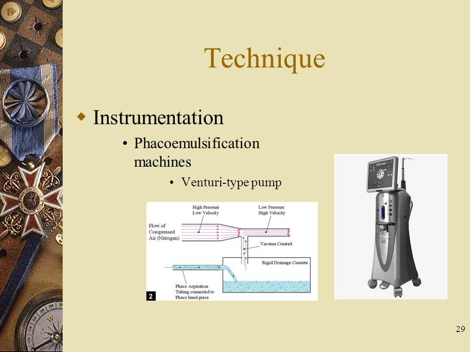 Technique Instrumentation Phacoemulsification machines