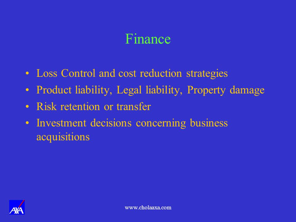 Finance Loss Control and cost reduction strategies