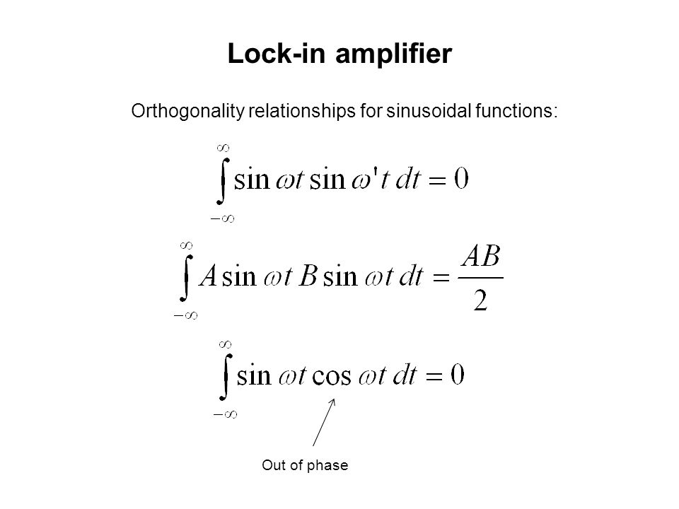 Lock-in amplifier Orthogonality relationships for sinusoidal functions: Out of phase